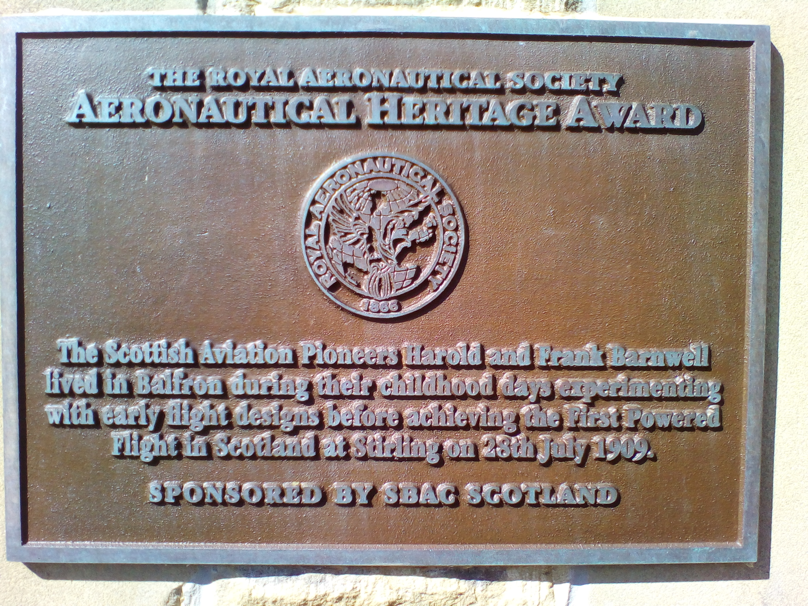 Plaque commemorating the Barnwell brothers