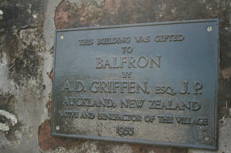 Plaque commemorating Andrew Dow Griffen, in the Donaldson Park