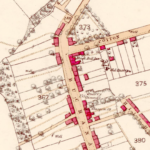 The 1865 map shows the Black Bull Hotel on this site.